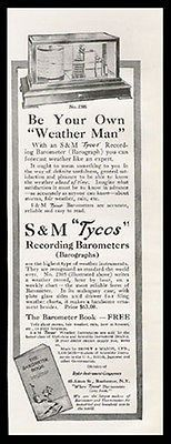 Recording Barometers Barograph 1912 Tycos Ad Be Your Own Weather Man