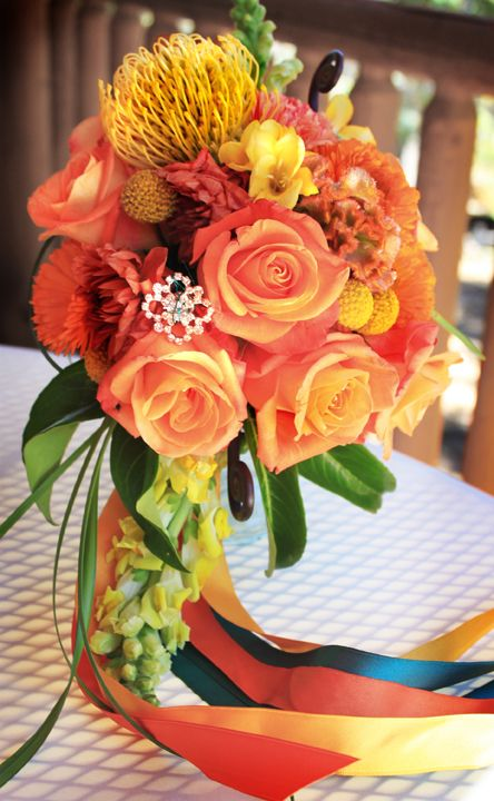 color scheme: yellow, persimmon, brown