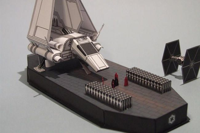 This Star Wars papercraft is The Emperor Arrives Diorama, created by PR Models, and the scale is in 1:250. You can download this paper model template here: