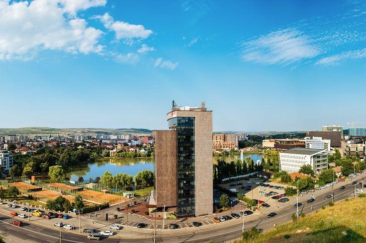 Vedere de la etajul 9 al complexului Riviera Cluj