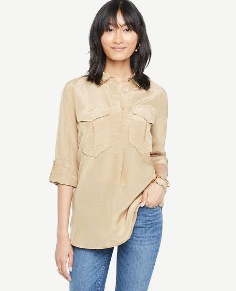 ANN TAYLOR Shimmer Safari Button Down Shirt. #anntaylor #cloth #shirt