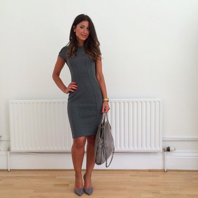 Mimi Ikonn | Office look, grey pencil dress, grey heels, Stella McCartney bag, Michael Kors watch