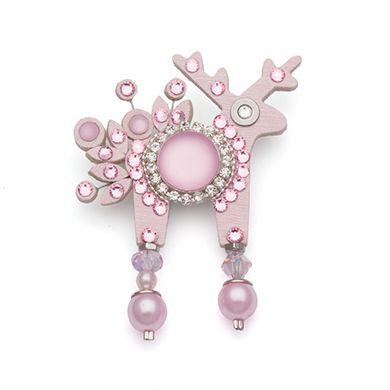 Brooch - pink deer