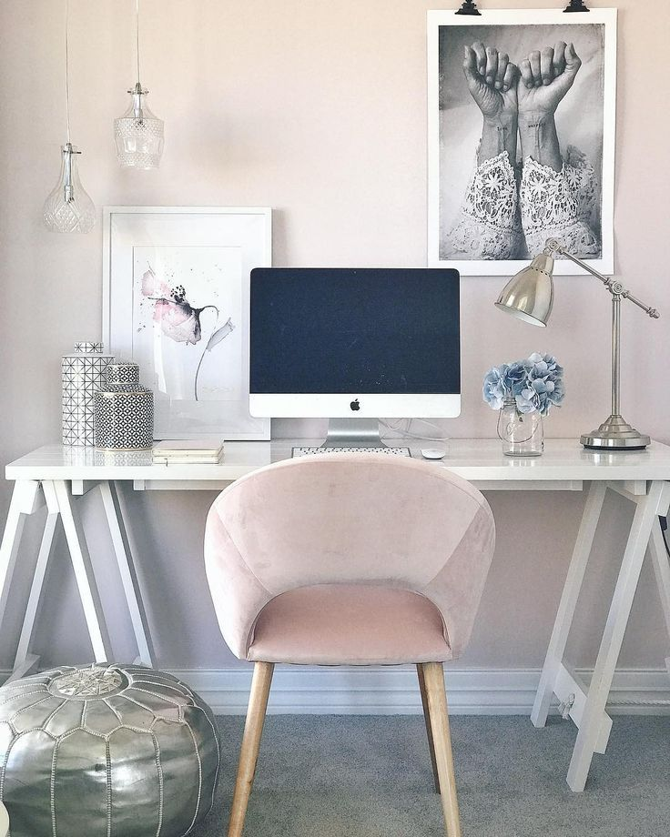Peach, pink, and white workspace   home office   chic