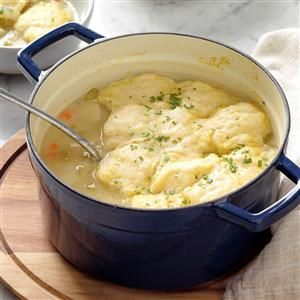 Easy Chicken and Dumplings Recipe -Perfect for autumn nights, this main course is speedy, low in fat and a delicious one-dish meal. —Nancy Tuck of Elk Falls, Kansas