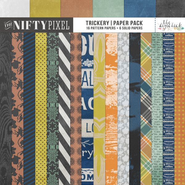 TRICKERY   Paper Pack This pack of papers includes some ephemera inspired patterns, floral designs, geometrics, woodgrain and bold graphic imagery to add some puch to your digital projects. The pack is a perfect selection for your Halloween projects but will also work really well with any outdoors, garden or Autumn inspired projects making this set really versatile.  DOWNLOAD INCLUDES:  16X Pattern Papers 6X Textured Grungy Cardstock solid papers