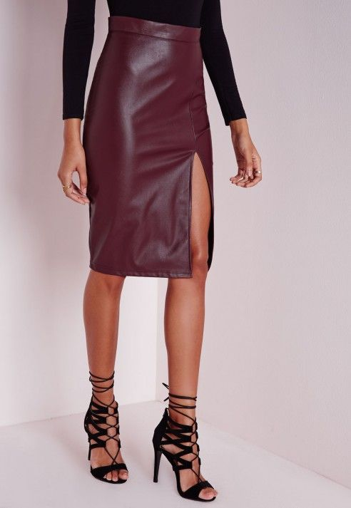 Faux Leather Split Midi Skirt in Burgundy by Missguided A leather ...