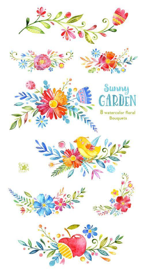 Jardín soleado. Ramos acuarela Imágenes por StarJamforKids en Etsy