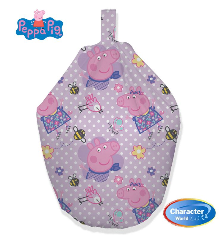 This childrens bean bag is an officialy licenced Peppa Pig bean bag.  This colourful lilac design has white dots adorned and features a very 'happy' Peppa, with cute bird, butterfly and bumble bee images. This Peppa happy bean bag has Fast & Free Shipping Within The UK!! Features: Size: Height 52cm, Width 52cm, Depth 38cm Approx 2.5 cubic feet.  100% Cotton Official Peppa Pig bean bag.  Cool, trendy, light and easy to transport.
