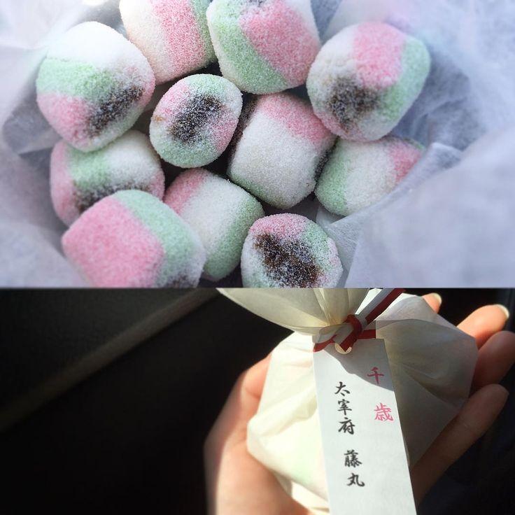 かわいくておいしい♡ 飴感覚かと思ったけど、やっぱりお薄が飲みたくなる! 柔らかいよ〜  #太宰府 #藤丸 #千歳 #和菓子#黒糖