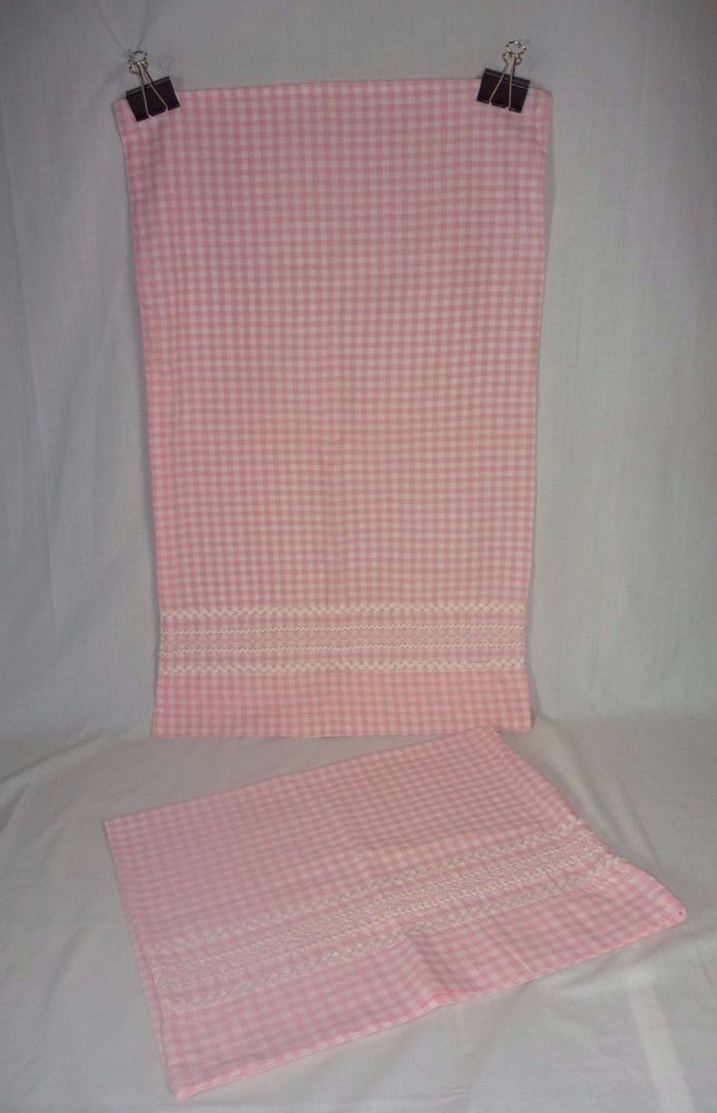 Pr Vintage Pink Gingham Pillowcases w/ Ric Rac & Embroidered Trim