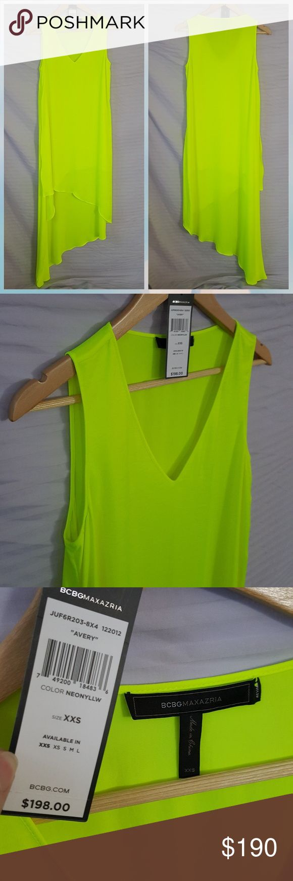 "BCBGMAXAZRIA ""Avery"" Dress Neon Yellow BCBGMAXAZRIA AVERY dress, neon yellow, NEONYLLW, in excellent condition.  Asymetrial hem, high-low style.  Make offers of items or bundles!  Make offers on items and bundles! BCBGMaxAzria Dresses"