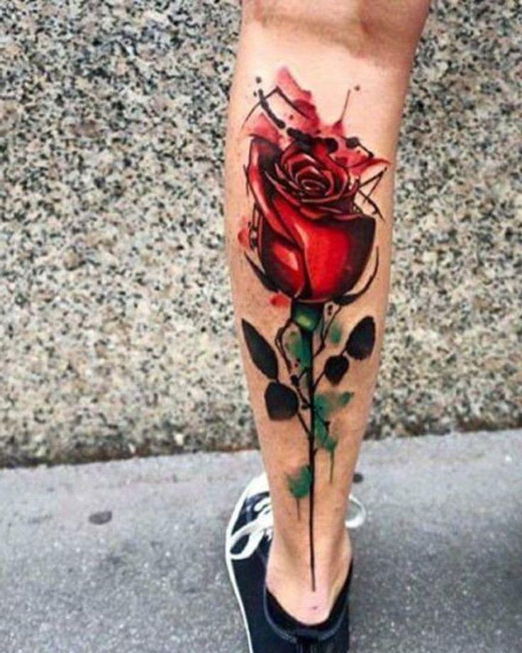 Waden Tattoo Rose Blumen