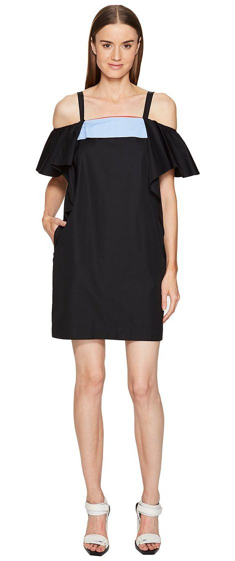 Sportmax Tedesco Strapless Ruffle Dress (Black) Women's Dress - Sportmax, Tedesco Strapless Ruffle Dress, 72210674000, Apparel Top Dress, Dress, Top, Apparel, Clothes Clothing, Gift - Outfit Ideas And Street Style 2017