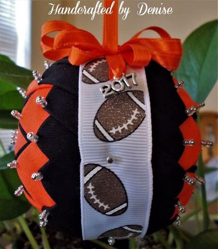 #HandcraftedByDenise #fabric #handmade #ornament #football