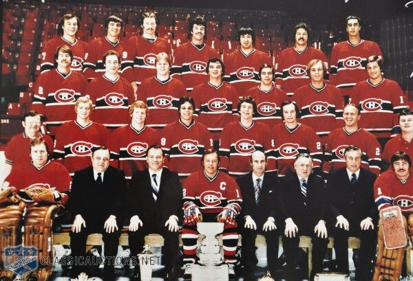 1978 Montreal Canadiens team picture. 21st Stanley Cup win. The last for GM Sam Polluck. The team would start a slow decent from which it has not recovered.