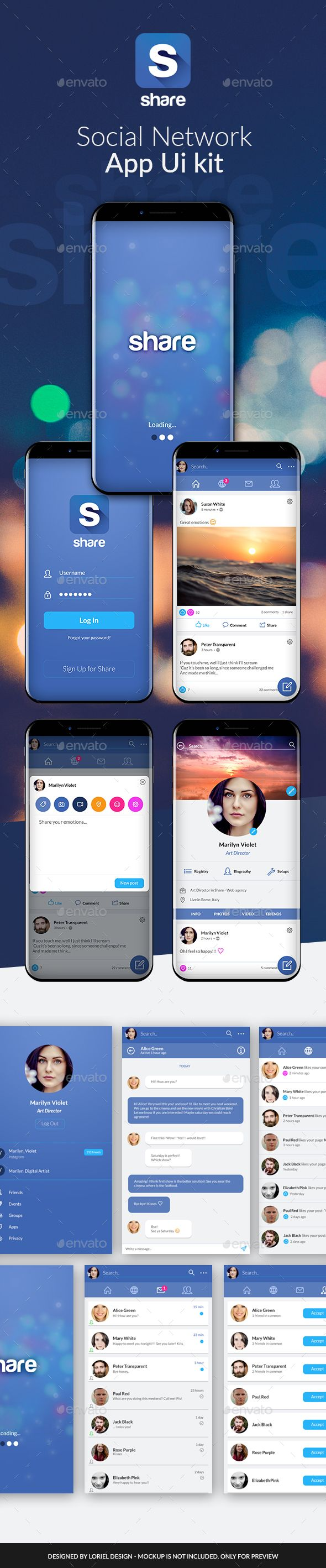 Share - Mobile Social Network App Ui kit - User Interfaces Web Elements