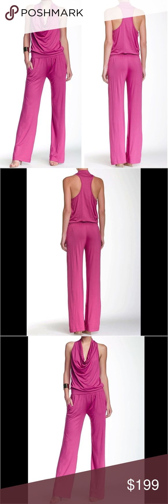 "Trina Turk Raissa Sleeveless Cowl Neck Jumpsuit L Trina Turk Purple Jumpsuit  Size: Large Compare at $228 •Cowl neck •Sleeveless •Draped bodice •2 on seam side pockets •Approx. 40"" bust, 34"" inseam •Made in USA •95% viscose, 5% elastane •Dry clean •Imported Trina Turk Pants Jumpsuits & Rompers"