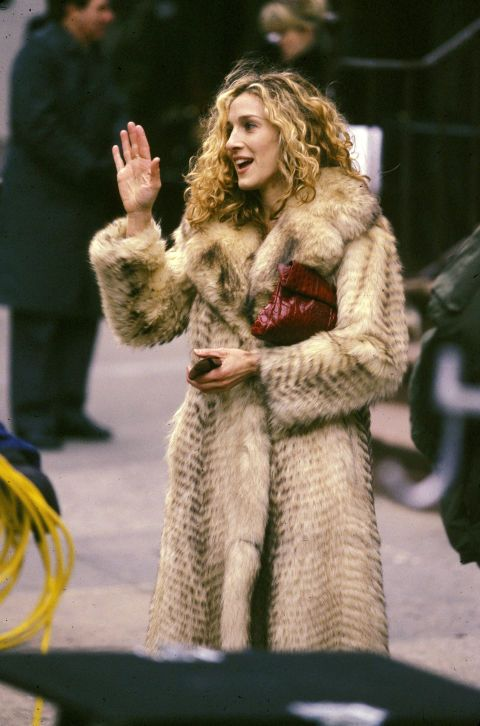 The 14 best real and faux fur coat moments of all time: Sarah Jessica Parker as Carrie Bradshaw