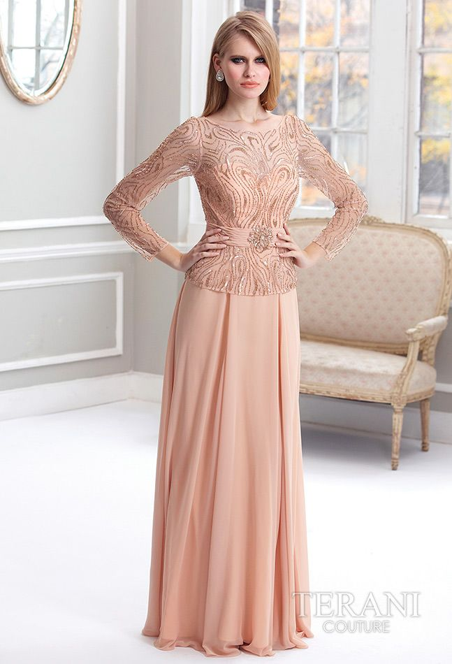 Terani Couture - Mother of the Bride Dress.  #Peach #Mother'sDay #Celebstylewed. @Celebrity Style Weddings