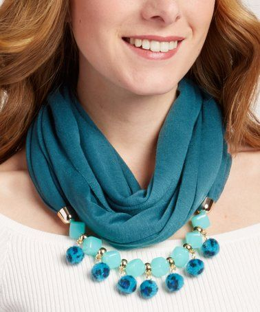 Look at this #zulilyfind! Dark Green & Mint Scarf Statement Necklace #zulilyfinds