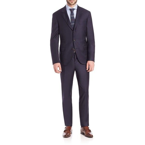 Brunello Cucinelli Solid Wool Suit ($4,090) ❤ liked on Polyvore featuring men's fashion, men's clothing, men's suits, apparel & accessories, navy, mens tailored suits, mens wool suits, mens navy suit and mens navy blue suit