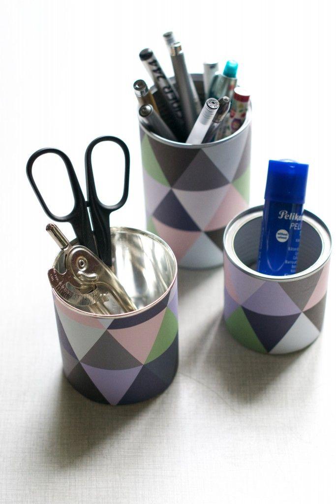 DIY Tin Can Pen Holder Tutorial | HungryHeart.se
