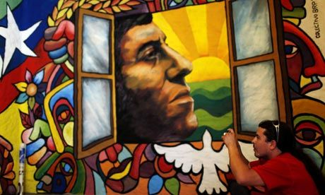 Painting of Victor Jara, Chilean folk singer