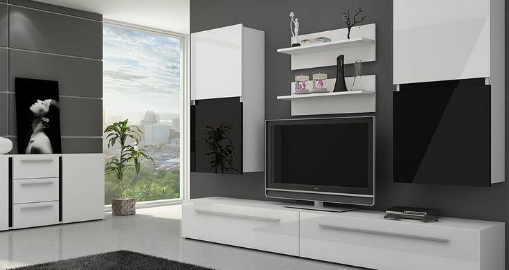 Meblościanka biała #nowoczesnemeble #mebledosalonu #meble #minimalistycznemeble #mebleniemieckie #dom #aranzacjedom #aranzacje