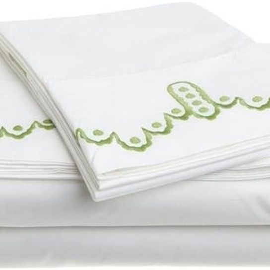 1891 Sferra Frou Frou White Apple Cotton Percale Cal King Sheet Set New 1STQINCLUDES1 KING FLAT SHEET;114 X 1141 KING FITTED SHEET;78 X80X172 KING PILLOWCASES The Frou Frou collection features an elaborately embroidered dot-and-scallop motif on 400 thread countpercale sheets and pillowcases. All flat sheets have beautiful embroidered turn backs,...