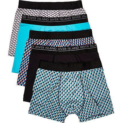 Turquoise geometric print trunks pack £22.00