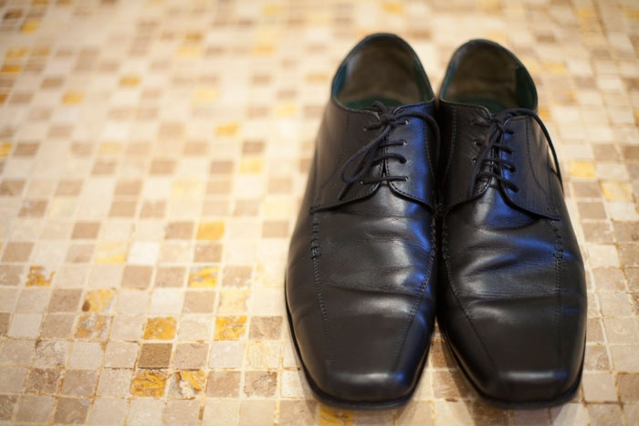 Nigel's black shoes are waiting