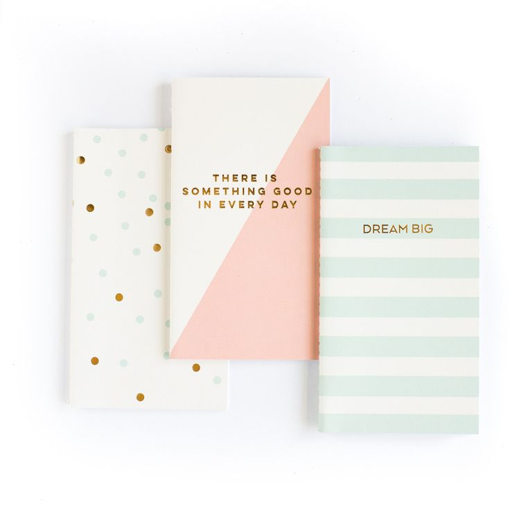 "These mini notebooks make great purse and planner accessories, they fit perfectly! - Package includes: 3 notebooks with 3 unique designs - Each notebook has 30 blank pages - Size: 4""x7"" - Trend Collec"