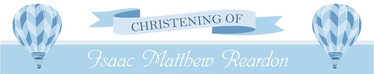 Blue Christening Personalised Banners - We Print Your Text