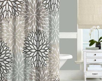 Gray Shower Curtain Bathroom Rug Blue Black Beige Bathroom Curtain Boho Bathroom Decor