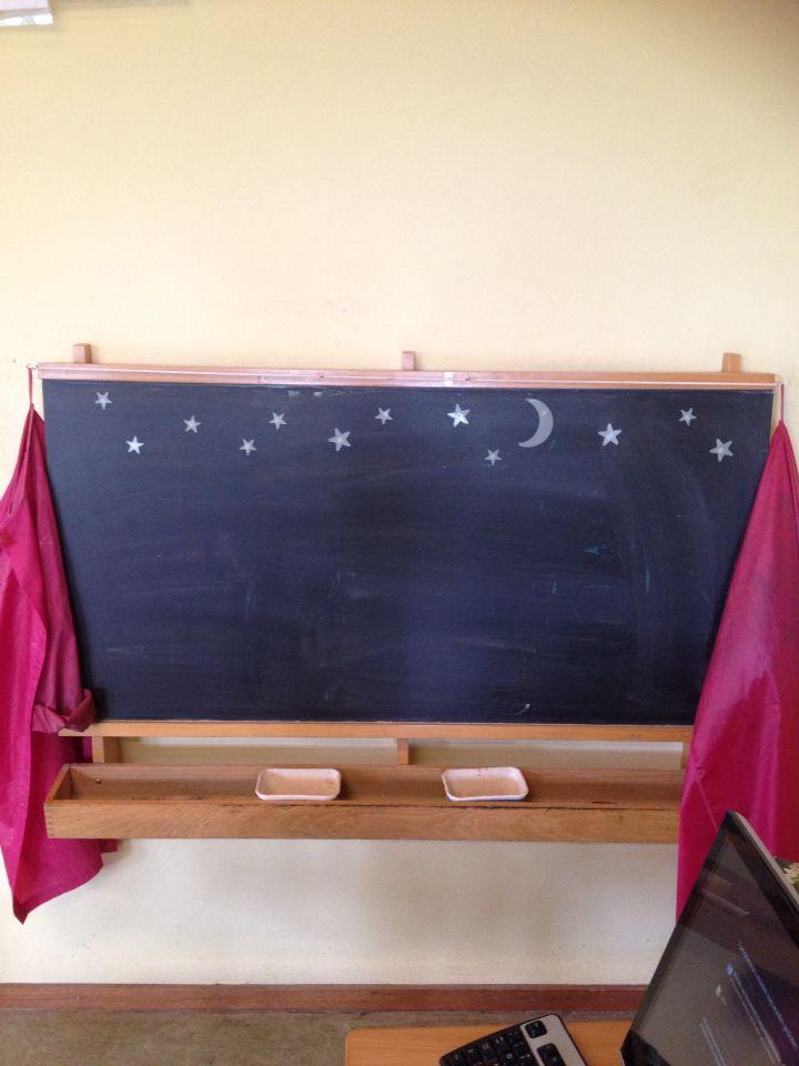 Krijtbord, teken iets bij de sterren