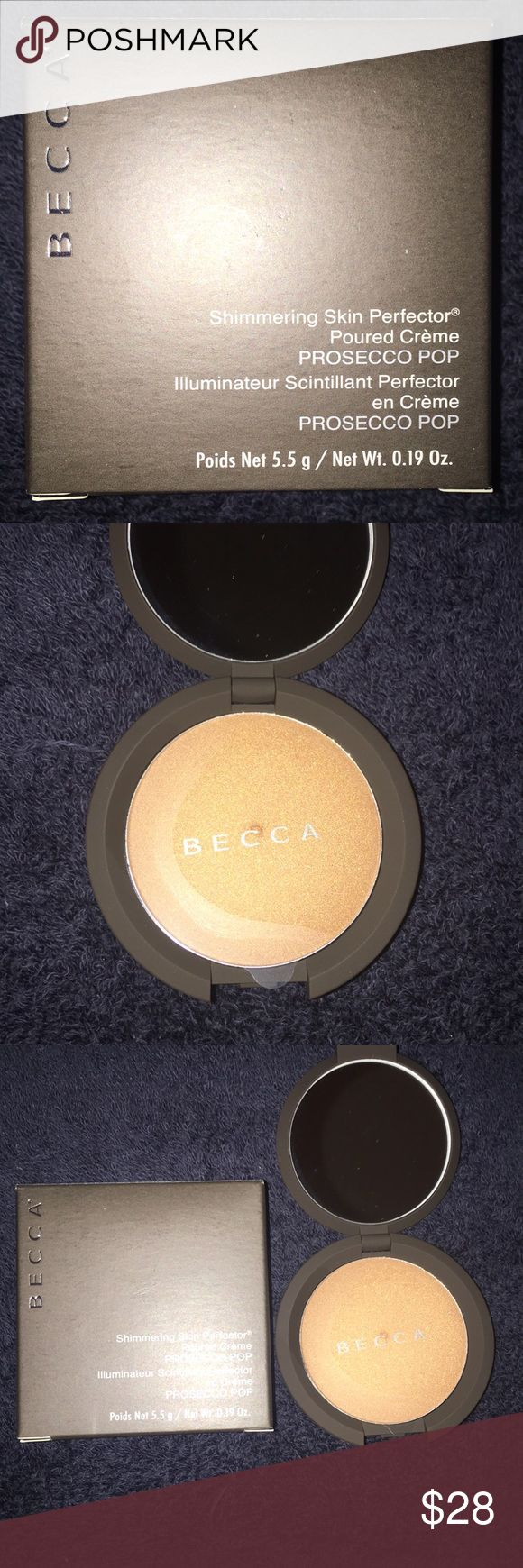 NWOT Becca Mini Highlight Prosecco Pop Becca favorite highlight in a mini version of the big one.  Big size is 7 grams of Product and this one is 5.5 grams  price is firm unless Bundle  Thank you BECCA Makeup Luminizer