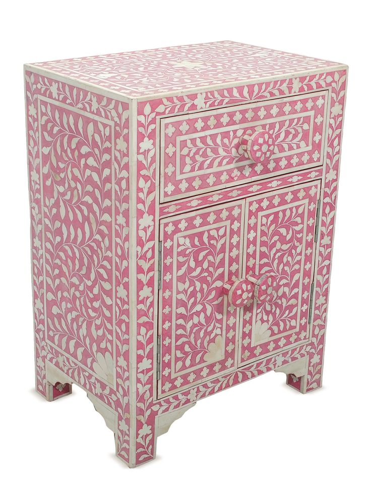 Coral Pink Victoria Bone Inlay Side Table Gilt Home