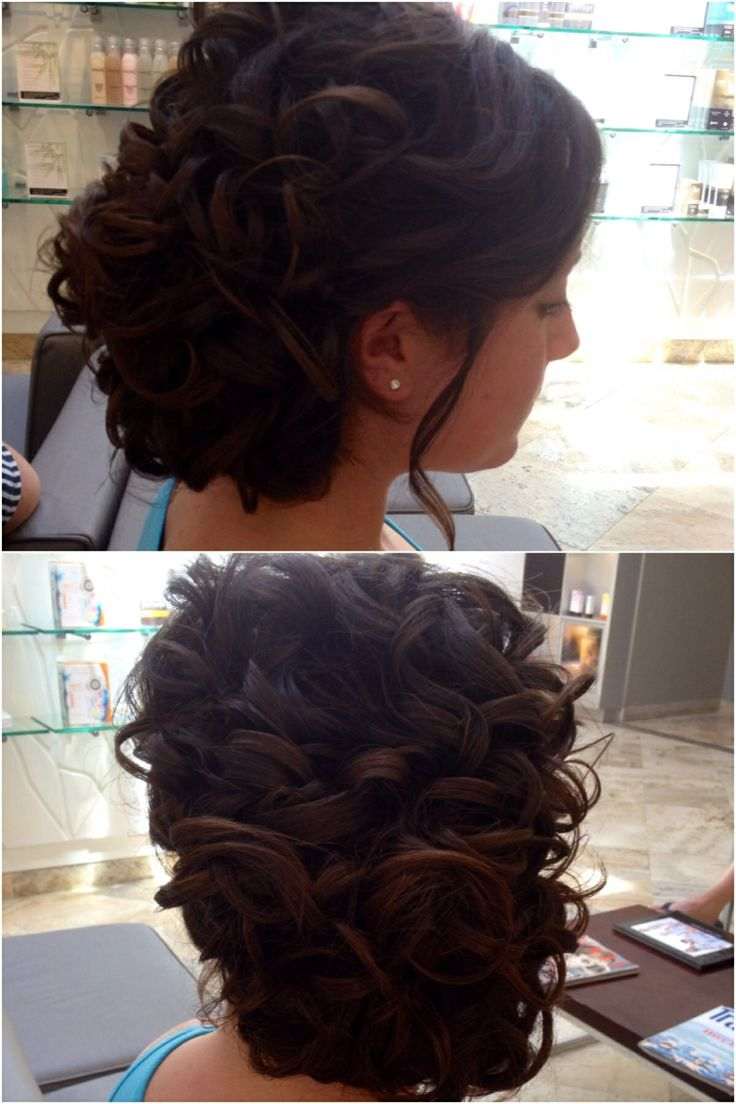My hair for prom!! Updo, curly side bun!!