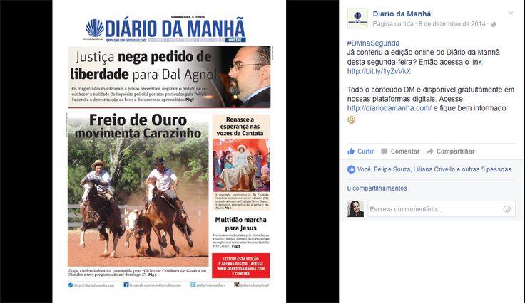 Capa da edição online de Segunda-feira do jornal Diário da Manhã de Passo Fundo, Rio Grande do Sul - Brasil.  A postagem pode ser encontrada através do link: https://www.facebook.com/redediariodamanha/photos/a.331046223643517.75593.331000323648107/737230179691784/?type=3&theater
