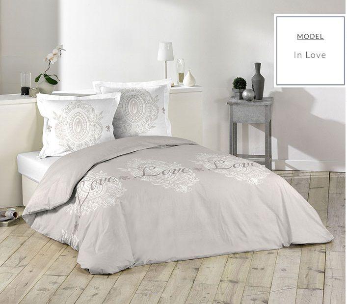 Béžové posteľné návliečky LOVE