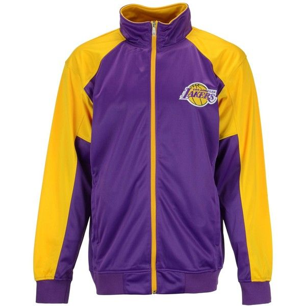 Majestic Men's Los Angeles Lakers Geo Track Jacket ($33) ❤ liked on Polyvore featuring men's fashion, men's clothing, men's activewear, men's activewear jackets, mens track jacket and mens track tops