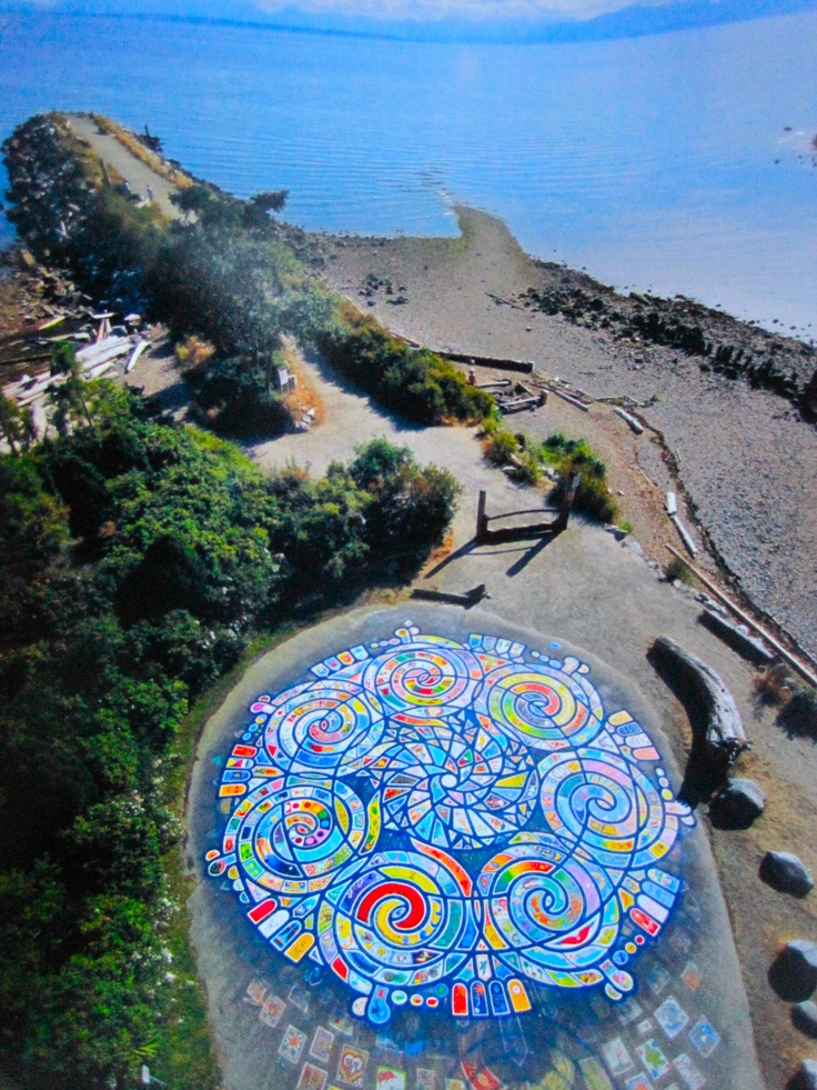 Aerial view of the Manadala at Roberts Creek, Sunshine Coast BC. This is painted by the community every year.
