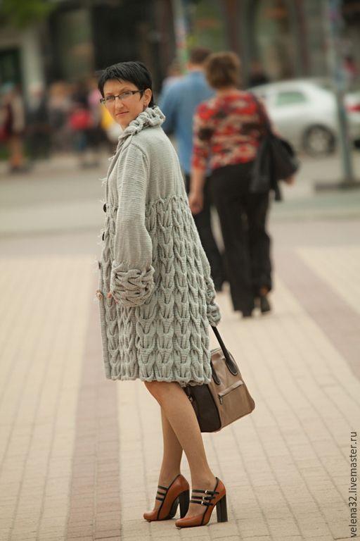 """Купить Пальто """"Городской шик"""" - серый, рисунок, пальто женское, пальто из шерсти, пальто вязаное"""