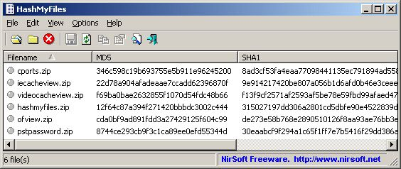 HashMyFiles: Calculate MD5/SHA1/CRC32 hash of files
