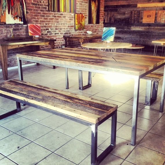 40x70 reclaimed wood table with steel parsons base