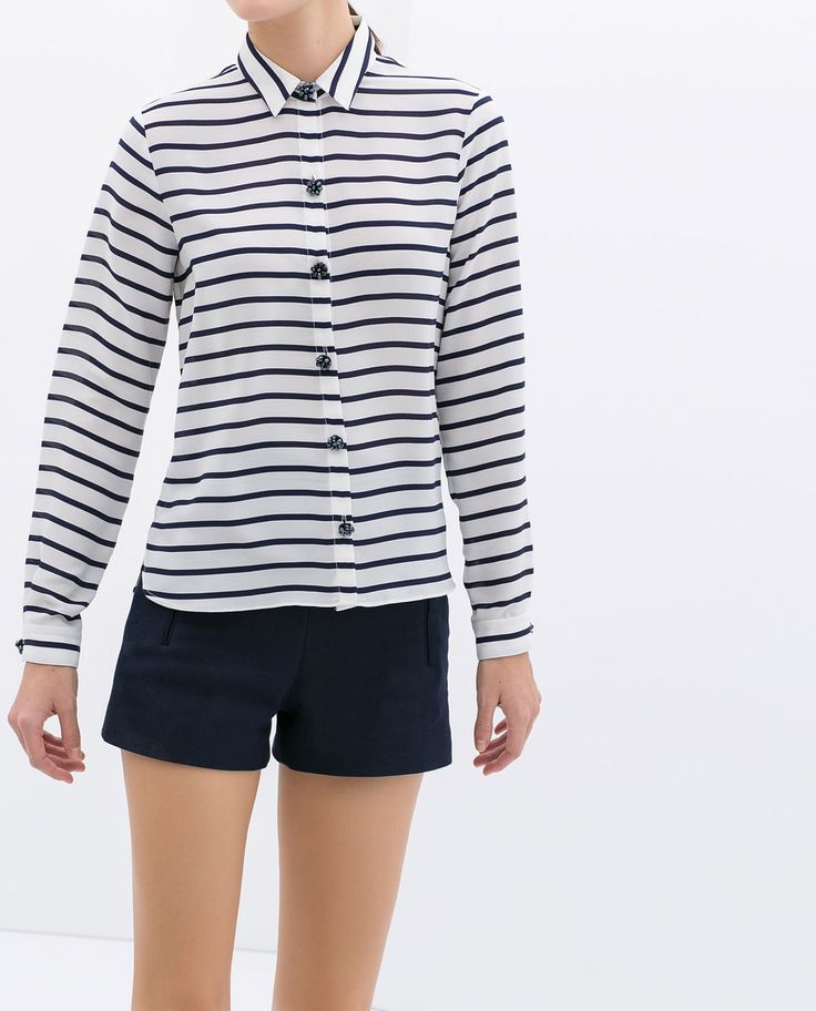 Image 1 of STRIPED SHIRT WITH JEWEL BUTTONS from Zara