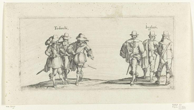 Johann Wilhelm Baur | Mannenkostuums uit Duitsland en Engeland, ca. 1630, Johann Wilhelm Baur, c. 1630 - before 1640 | Twee groepjes van drie heren: links de 'Todeschi', de Duitsers, gekleed volgens de mode van ca. 1630, rechts drie Engelsen ('Inglesi'): twee van achteren gezien, een van voren gezien.