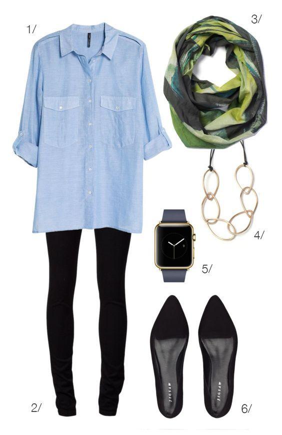 Blue Shirt, Black Pants and Black Flats