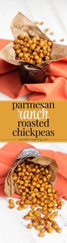 Parmesan Ranch Roasted Chickpeas – JenniferMeyering.com   – Healthy treats